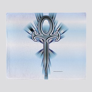 Ice Ankh Throw Blanket