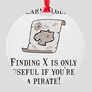 Algebra Pirate Black Round Ornament