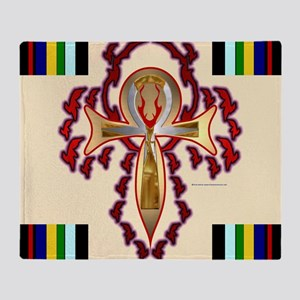 Fired Ankh Throw Blanket