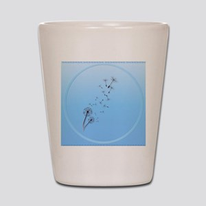 Dandelion on Baby Blue-circle Shot Glass