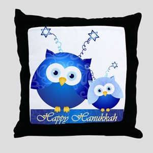 Happy Hanukkah Owls Throw Pillow