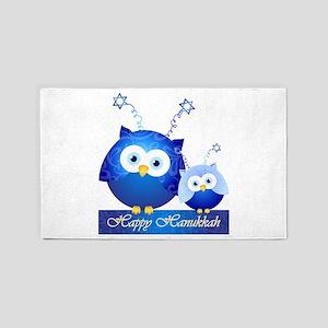 Happy Hanukkah Owls 3'X5' Area Rug