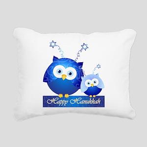 Happy Hanukkah Owls Rectangular Canvas Pillow