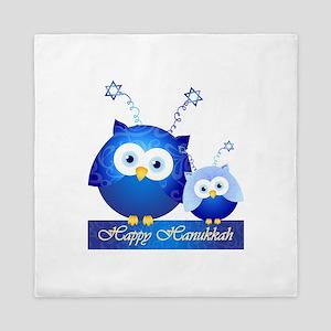 Happy Hanukkah Owls Queen Duvet