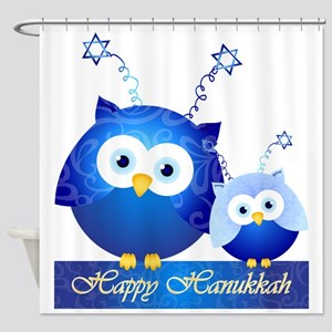 Happy Hanukkah Owls Shower Curtain