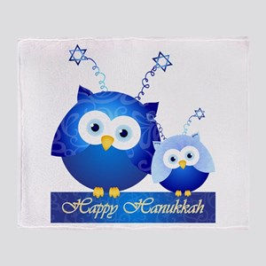 Happy Hanukkah Owls Throw Blanket