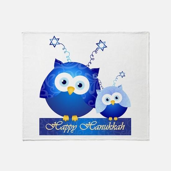 Happy Hanukkah Owls Throw Blanket