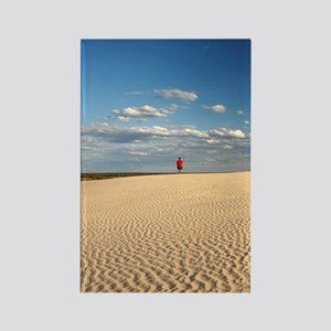 Person walking on Dunes, Mungo Na Rectangle Magnet