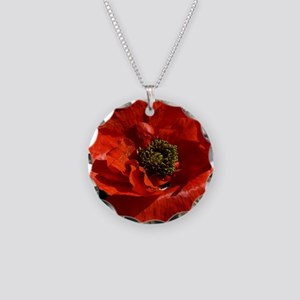 Vibrant Red Poppy Necklace Circle Charm