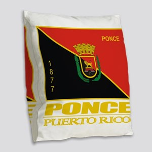 Ponce Flag Burlap Throw Pillow