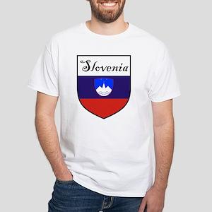 Slovenia Flag Crest Shield White T-Shirt