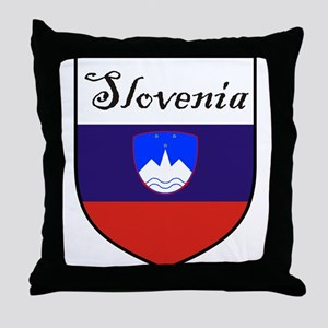 Slovenia Flag Crest Shield Throw Pillow