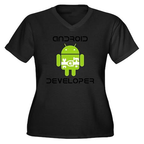 android-deve Women's Plus Size Dark V-Neck T-Shirt