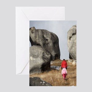 Family and Rock Formations, Castle H Greeting Card