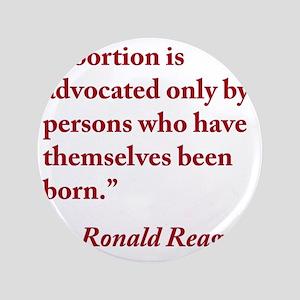 """reagan-abortion-quote-square 3.5"""" Button"""