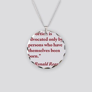 reagan-abortion-quote-square Necklace Circle Charm