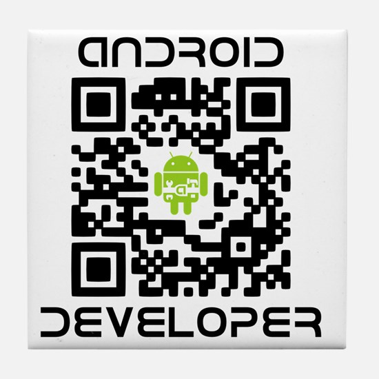 android-qr-3inch-300dpi Tile Coaster