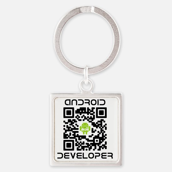 android-qr-3inch-300dpi Square Keychain
