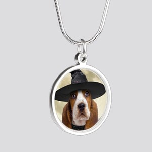 bassethalloween_button Silver Round Necklace