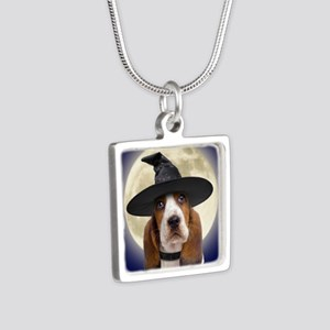 bassethalloween_button Silver Square Necklace