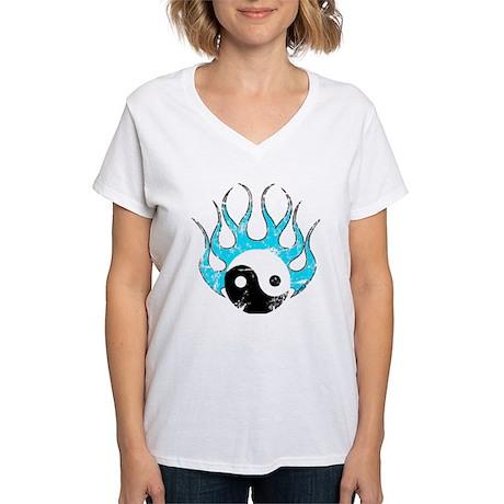 Yin Yang blue fire Women's V-Neck T-Shirt