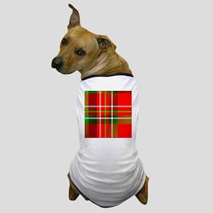 Christmas Tartan Pattern Dog T-Shirt