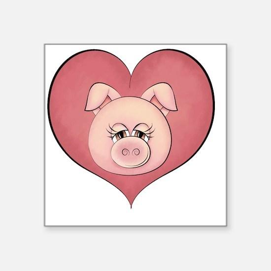 Pig Heart 001 Square Sticker 3