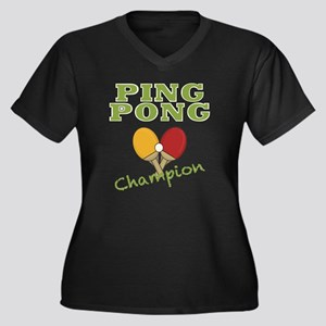 ping pong ch Women's Plus Size Dark V-Neck T-Shirt