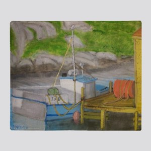 Fishing boat - Peggys Cove Throw Blanket