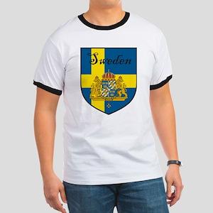 Sweden Flag Crest Shield Ringer T