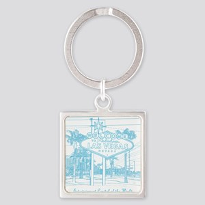 LasVegas_10x10_WelcomeSign_LghtBlu Square Keychain