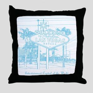 LasVegas_10x10_WelcomeSign_LghtBlue Throw Pillow