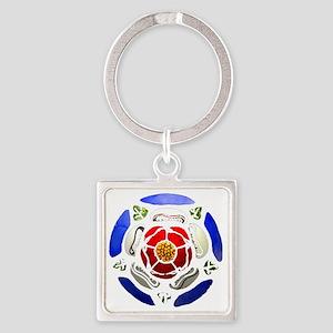 Tudor Rose Square Keychain