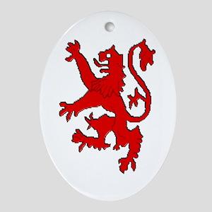 Scottish red lion rampant Oval Ornament
