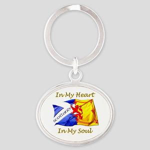 in my heart scotland darks Oval Keychain
