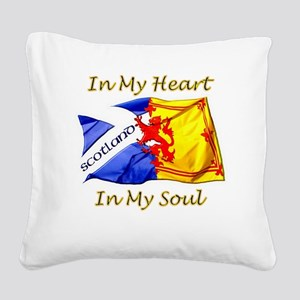 in my heart scotland darks Square Canvas Pillow