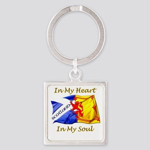 in my heart scotland darks Square Keychain