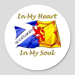 in my heart scotland darks Round Car Magnet