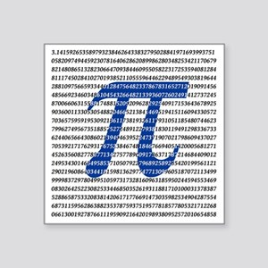 "1018-digits-of-pi-1-black c Square Sticker 3"" x 3"""