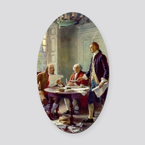 Signing_of_Declaration_of_Independ Oval Car Magnet