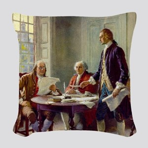 Signing_of_Declaration_of_Inde Woven Throw Pillow