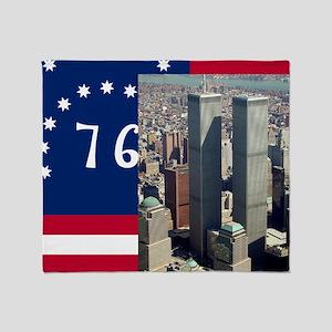 WTC-Complex-Atop-Bennington-Flag-14b Throw Blanket