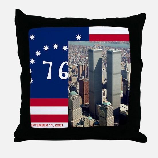 WTC-Complex-Atop-Bennington-Flag-14b1 Throw Pillow