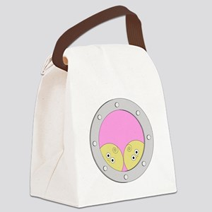 PortholeTwins_whitetext Canvas Lunch Bag