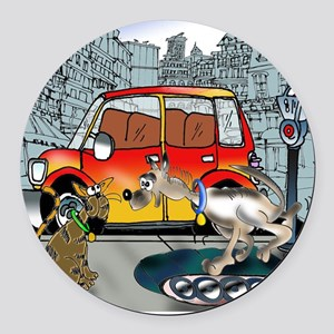 3429_running_cartoon Round Car Magnet