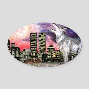 New York Skyline Oval Car Magnet