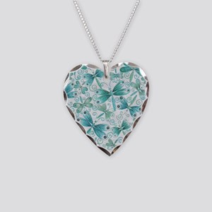 dragonflies2 Necklace Heart Charm