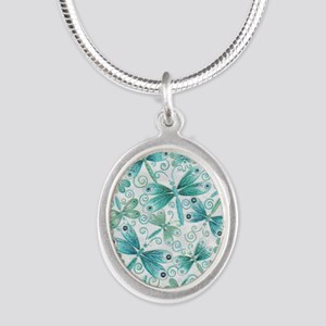dragonflies2 Silver Oval Necklace