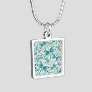 dragonflies2 Silver Square Necklace