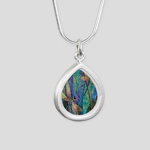 DRAGONFLIES Silver Teardrop Necklace